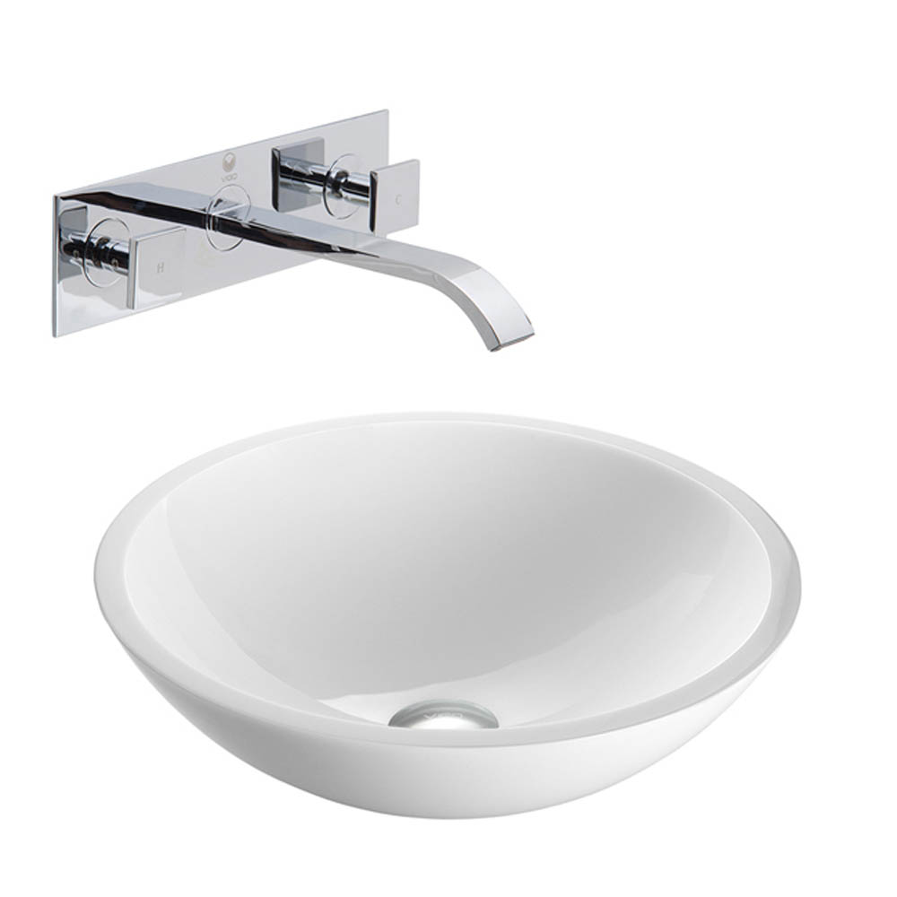 Vigo Flat Edged White Phoenix Stone Vessel Sink with Titus Wall Mount Faucet VGT227- by Vigo Industries