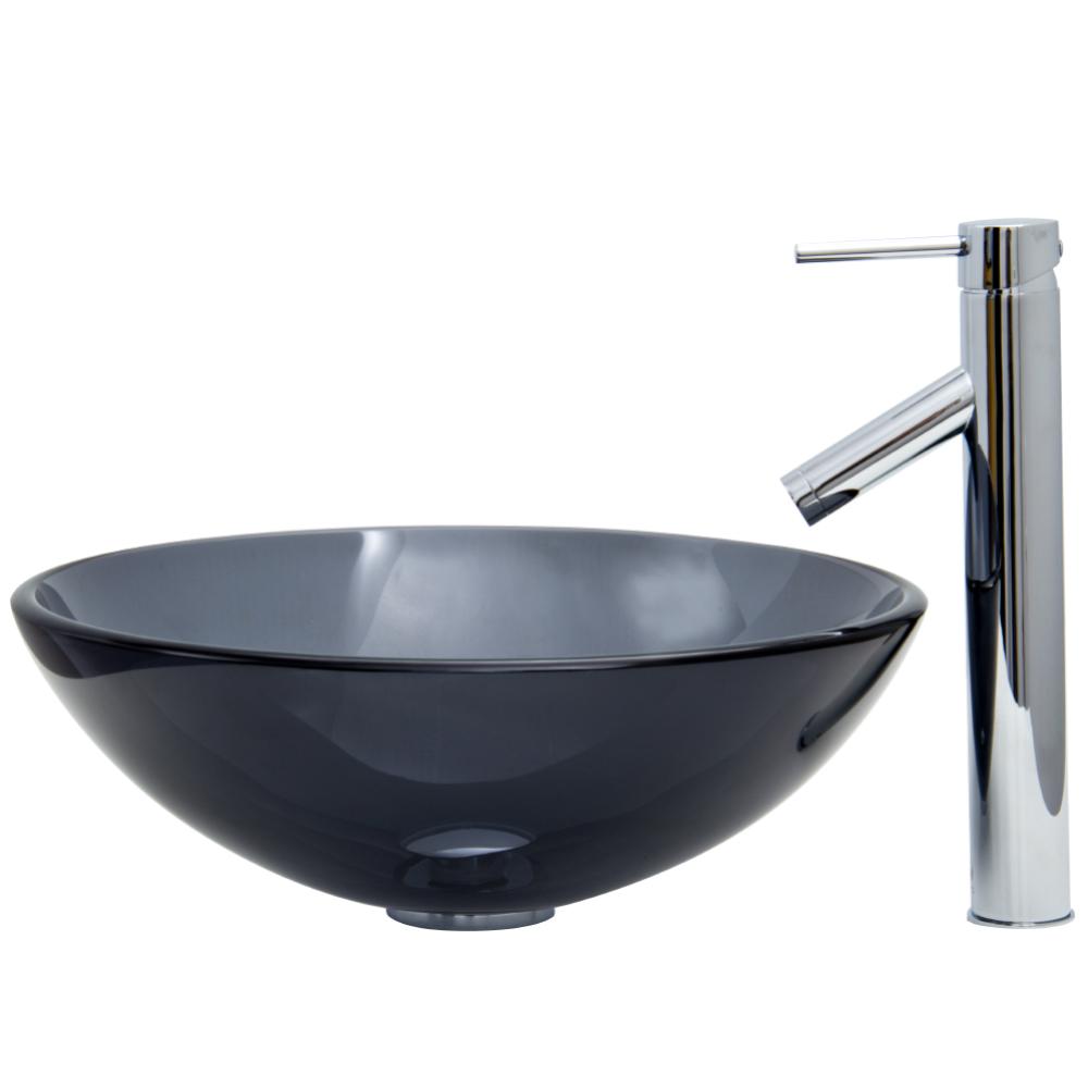 Vigo Sheer Black Glass Vessel Sink And Faucet Set In