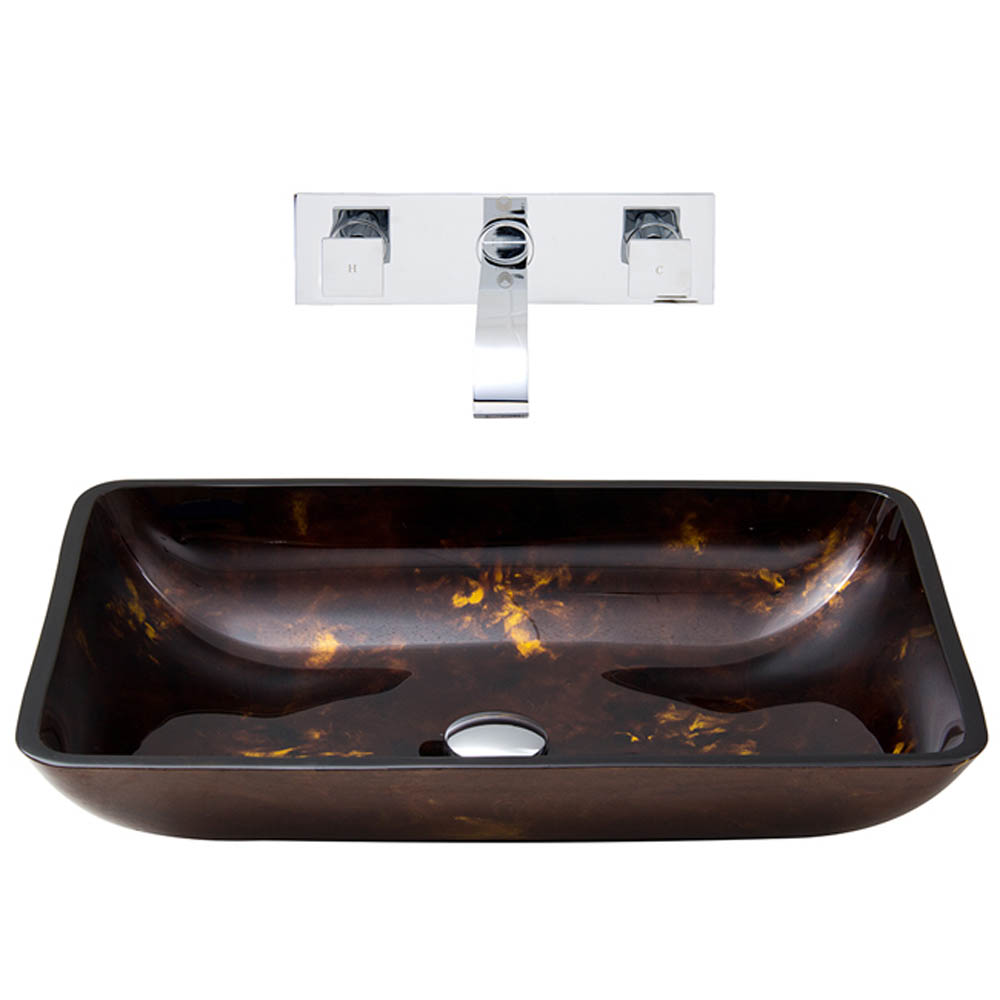 Vigo Rectangular Brown and Gold Fusion Glass Vessel Sink and Wall Mount Faucet Set VGT281- by Vigo Industries