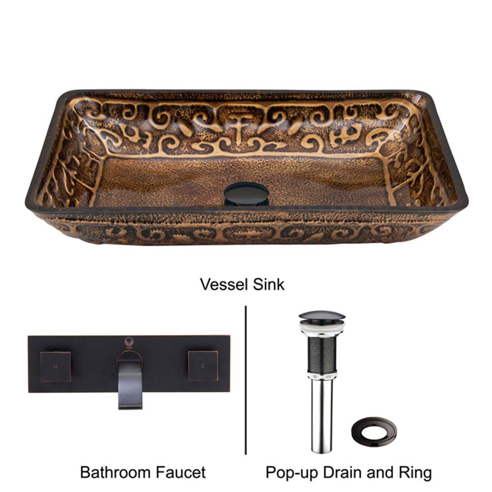 Vigo Rectangular Golden Greek Glass Vessel Sink And Wall