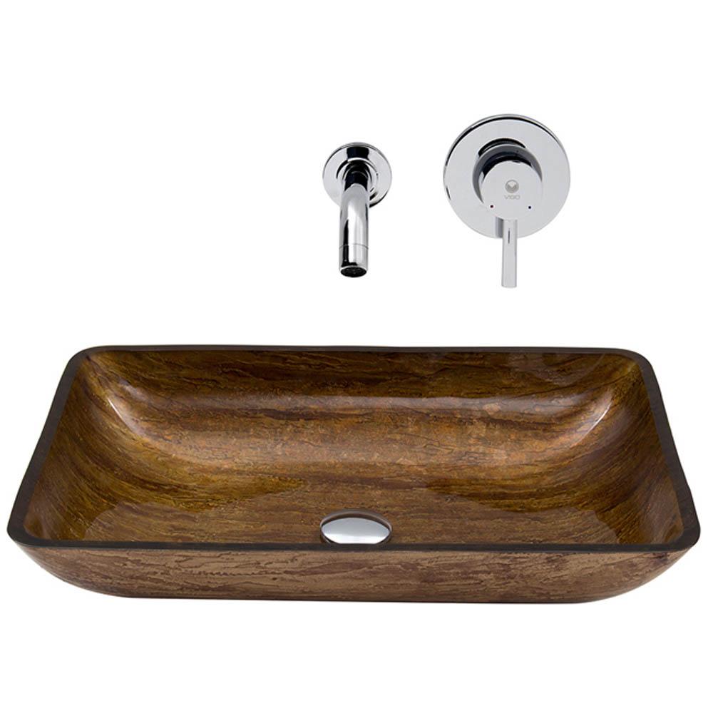 Vigo Rectangular Amber Sunset Glass Vessel Sink and Wall Mount Faucet Set VGT294- by Vigo Industries