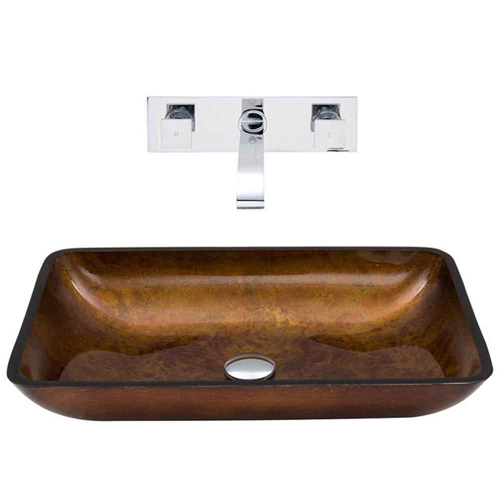 Vigo Rectangular Russet Glass Vessel Sink and Wall Mount Faucet Set VGT305- by Vigo Industries