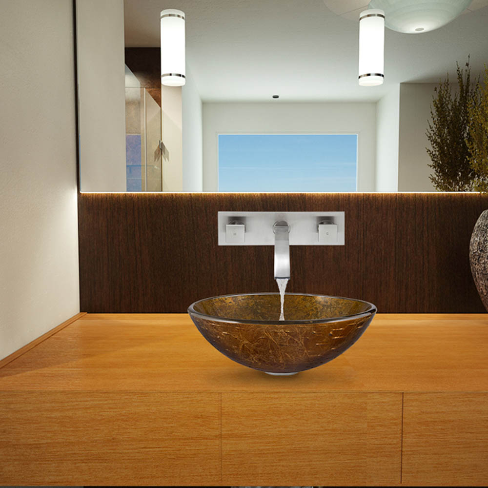 Vigo Textured Copper Glass Vessel Sink And Titus Wall