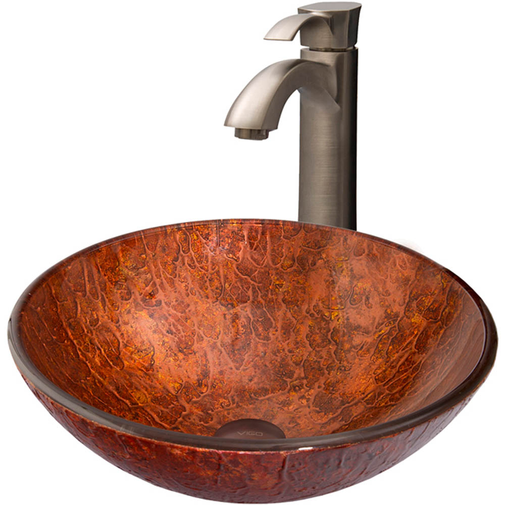 Vigo Mahogany Moon Glass Vessel Sink and Otis Faucet Set in Brushed Nickel VGT345 by Vigo Industries