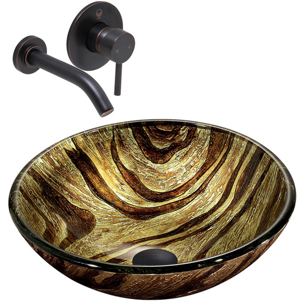 Vigo Zebra Glass Vessel Sink and Olus Wall Mount Faucet Set in Antique Rubbed Bronze VGT351 by Vigo Industries