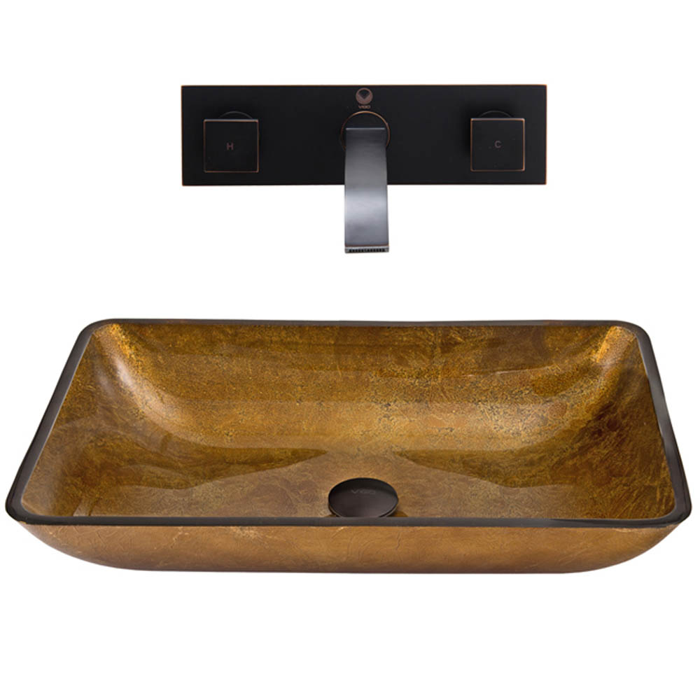 Vigo Rectangular Copper Glass Vessel Sink And Titus Wall Mount Faucet Set In Antique Rubbed