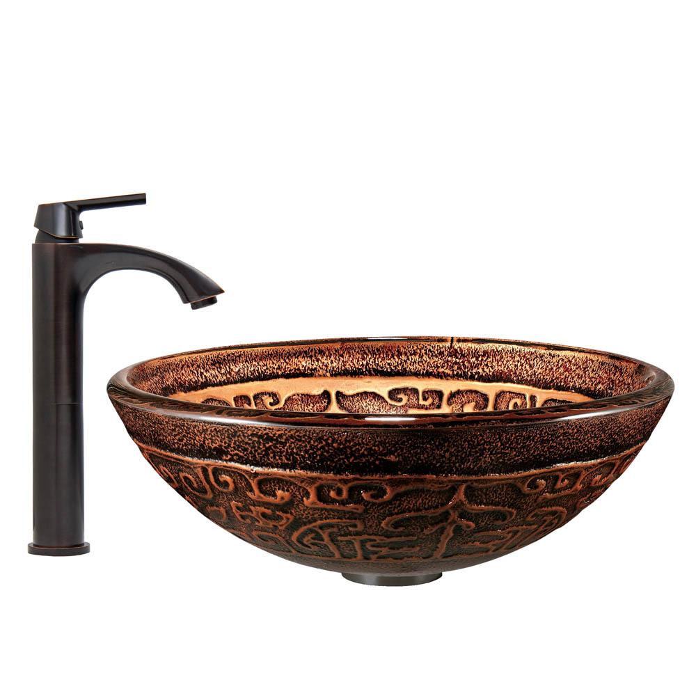 Vigo Golden Greek Glass Vessel Sink And Linus Faucet Set