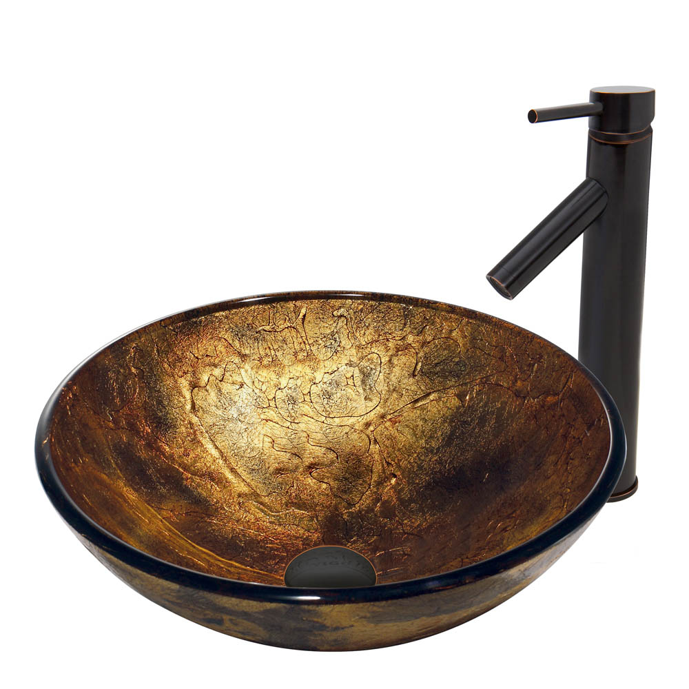Vigo Copper Shapes Glass Vessel Sink and Dior Faucet Set in Antique Rubbed Bronze Finish VGT378 by Vigo Industries