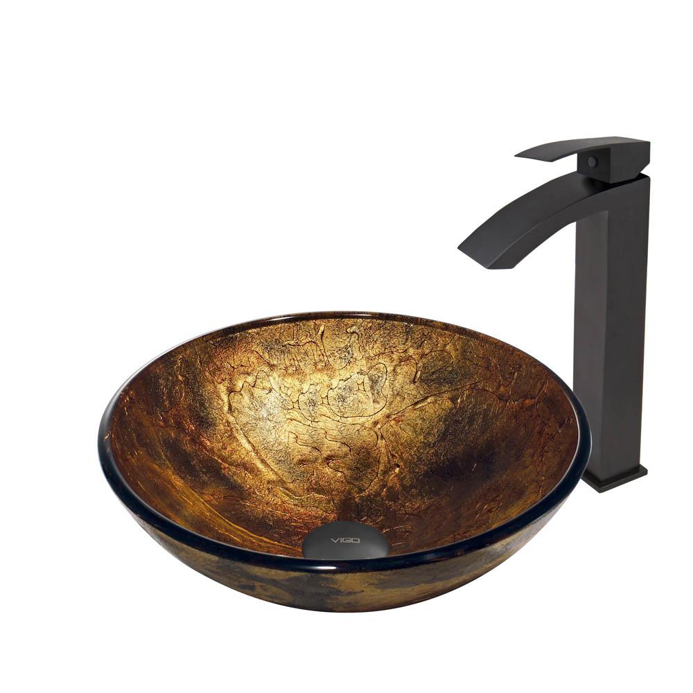 Vigo Copper Shapes Glass Vessel Sink and Duris Faucet Set in Matte Black Finish VGT379 by Vigo Industries