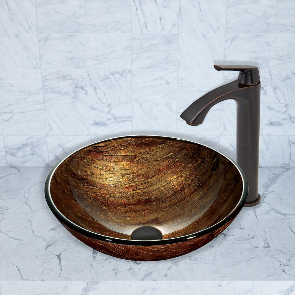 Vigo Amber Sunset Glass Vessel Sink And Linus Faucet Set
