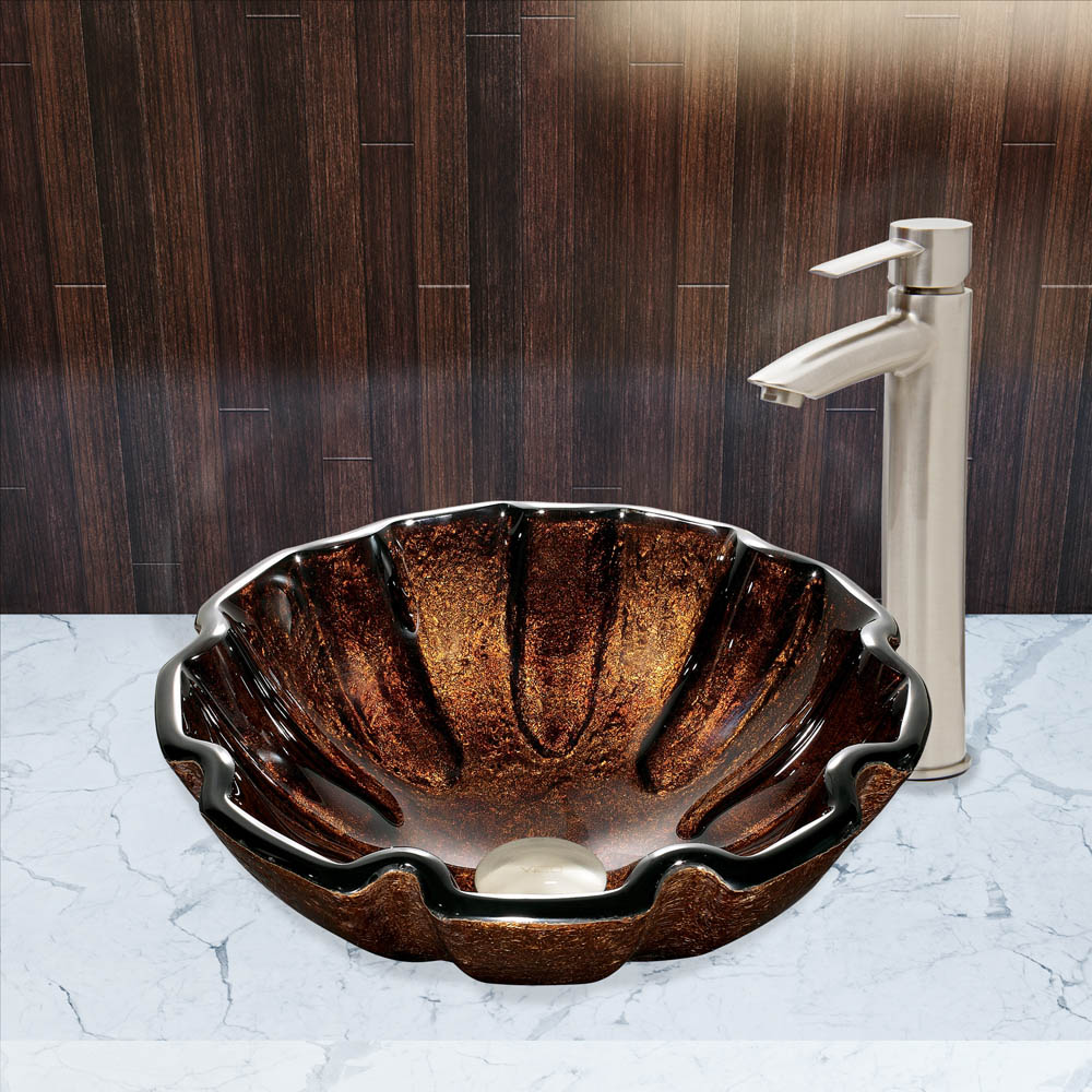 Vigo Walnut Shell Glass Vessel Sink And Shadow Faucet Set
