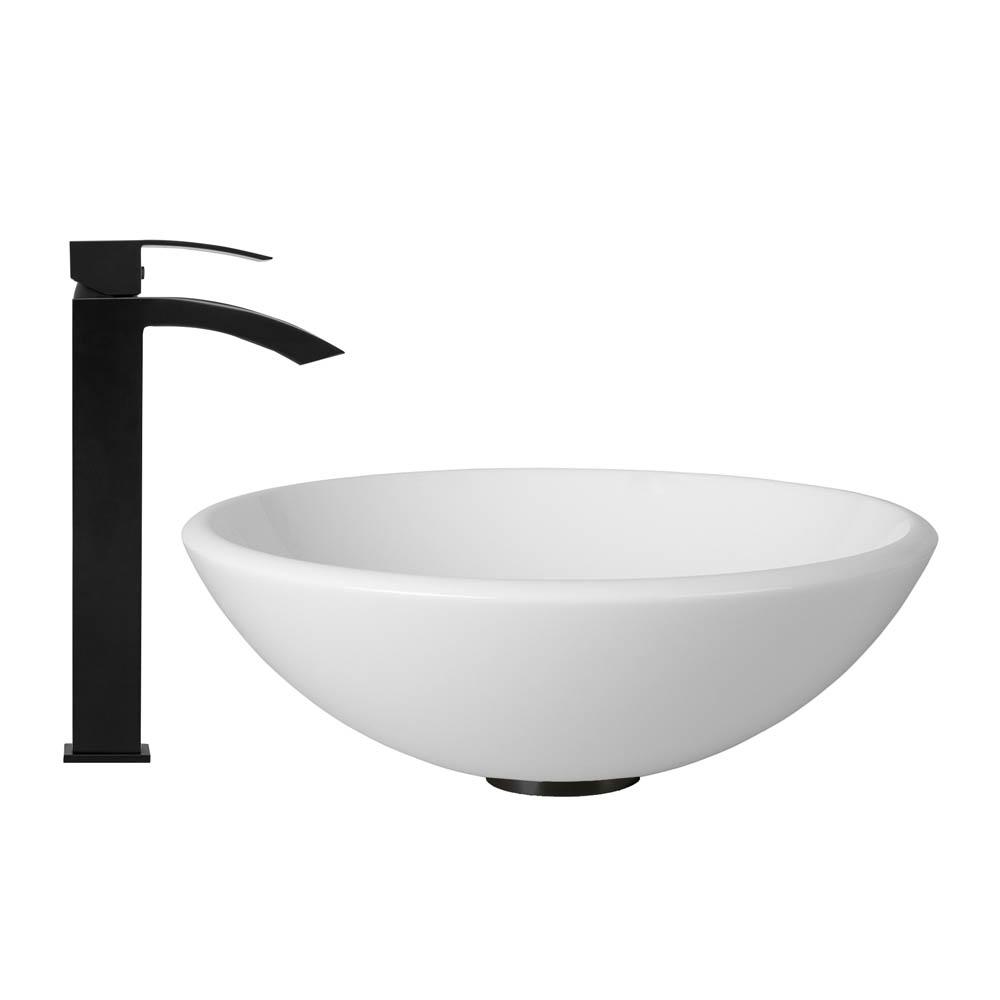 Vigo White Phoenix Stone Vessel Sink and Duris Faucet Set in Matte Black Finish VGT428 by Vigo Industries