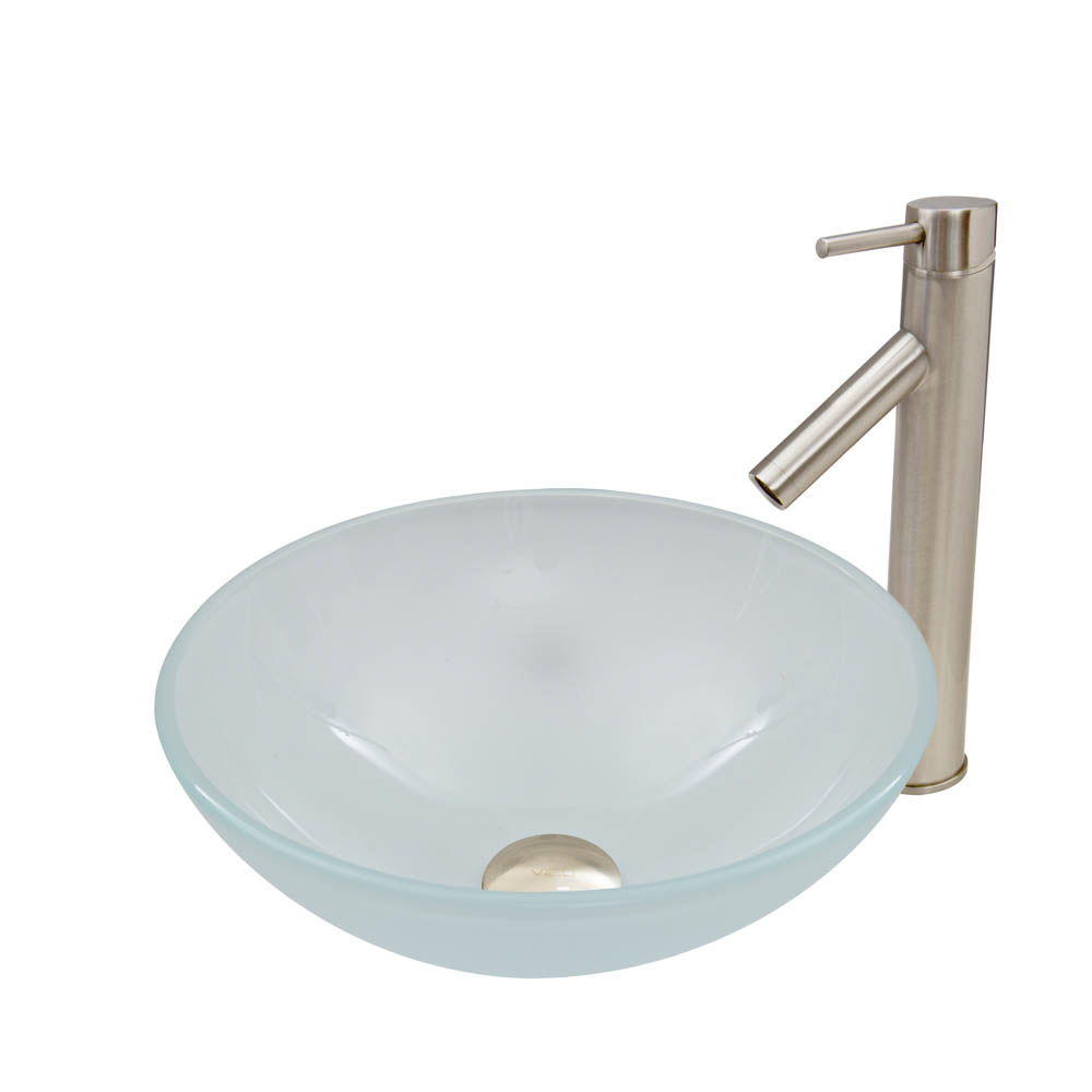 Vigo White Frost Glass Vessel Sink And Dior Faucet Set In