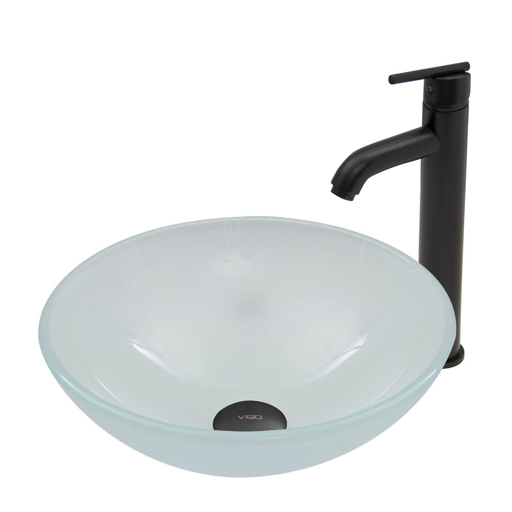 Vigo White Frost Glass Vessel Sink And Seville Faucet Set
