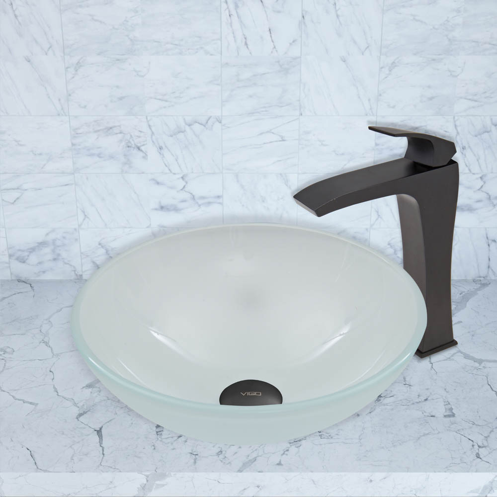 Vigo White Frost Glass Vessel Sink And Blackstonian Faucet