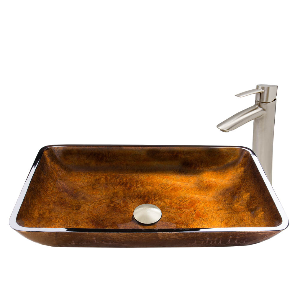 Vigo Rectangular Russet Glass Vessel Sink and Shadow Faucet Set in Brushed Nickel Finish VGT493 by Vigo Industries