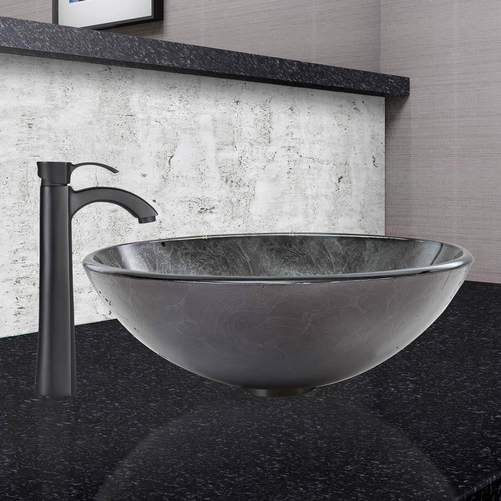 Vigo Gray Onyx Glass Vessel Sink And Otis Faucet Set In