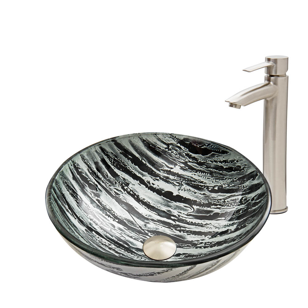 Vigo Rising Moon Glass Vessel Sink and Shadow Faucet Set in Brushed Nickel Finish VGT589 by Vigo Industries