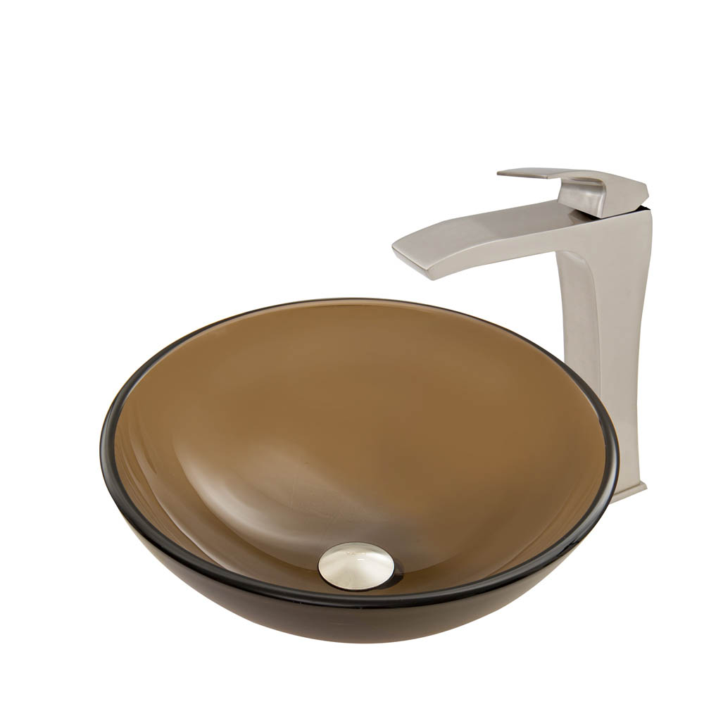 Vigo Sheer Sepia Frost Glass Vessel Sink and Blackstonian Faucet Set in Brushed Nickel Finish VGT718 by Vigo Industries