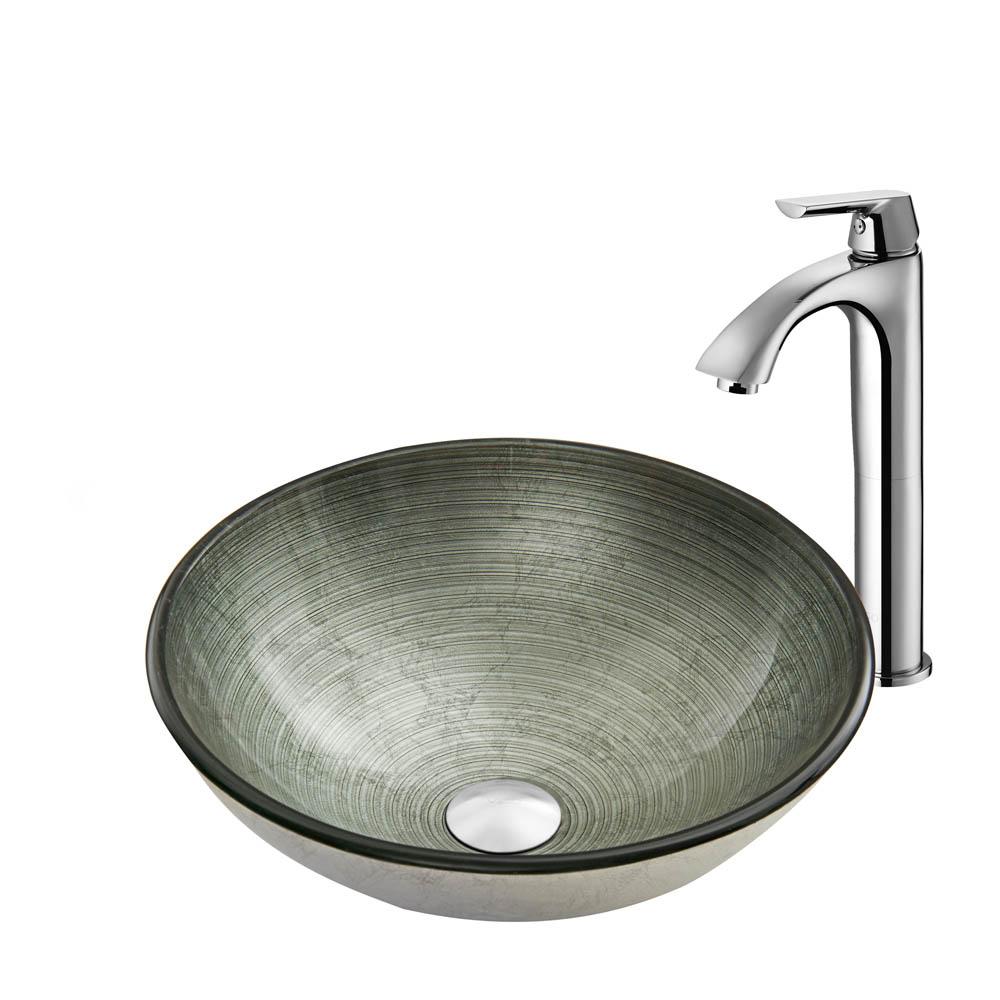Vigo Simply Silver Glass Vessel Sink and Linus Faucet Set in Chrome VGT839 by Vigo Industries