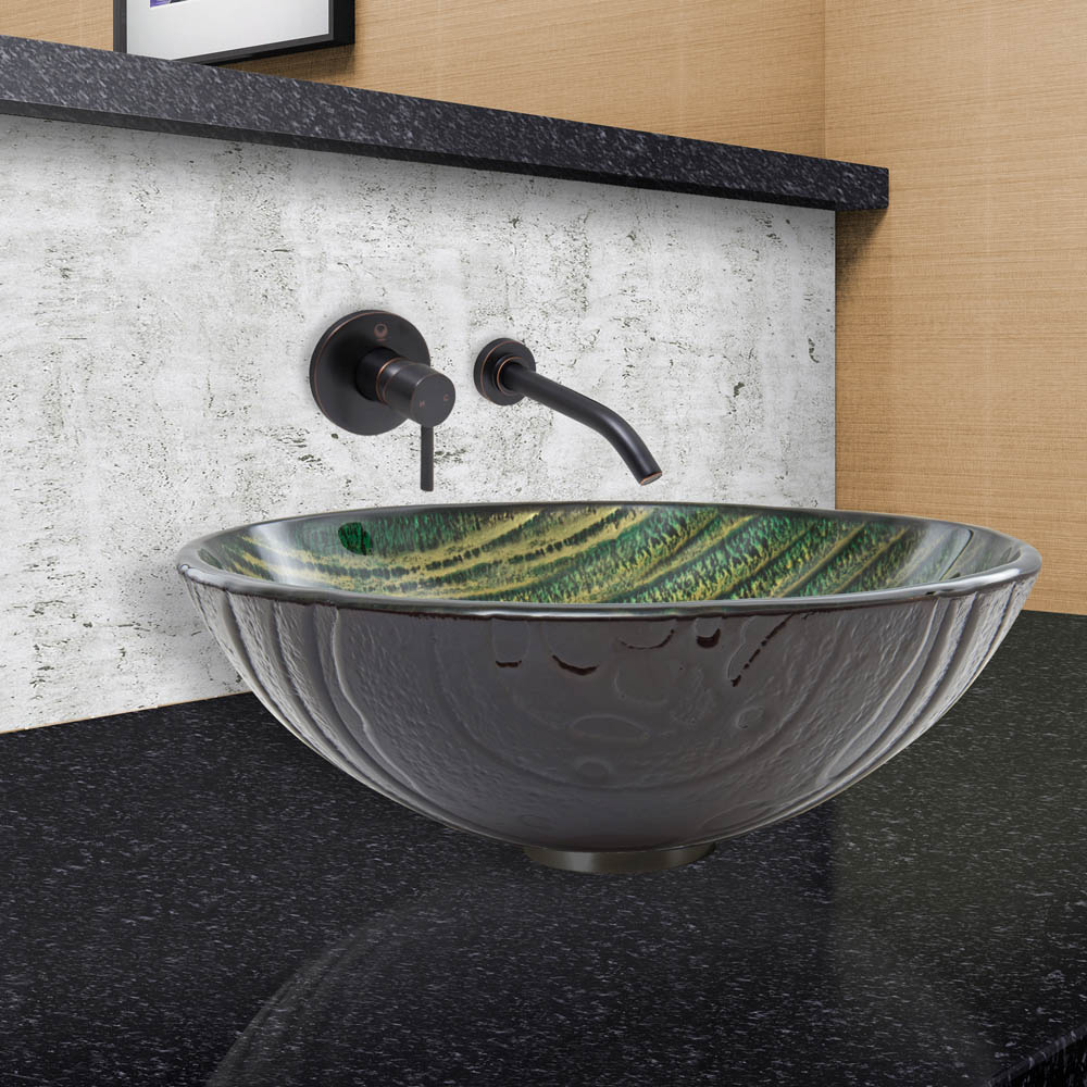 VIGO Green Asteroid Glass Vessel Sink and Olus Wall Mount Faucet Set ...