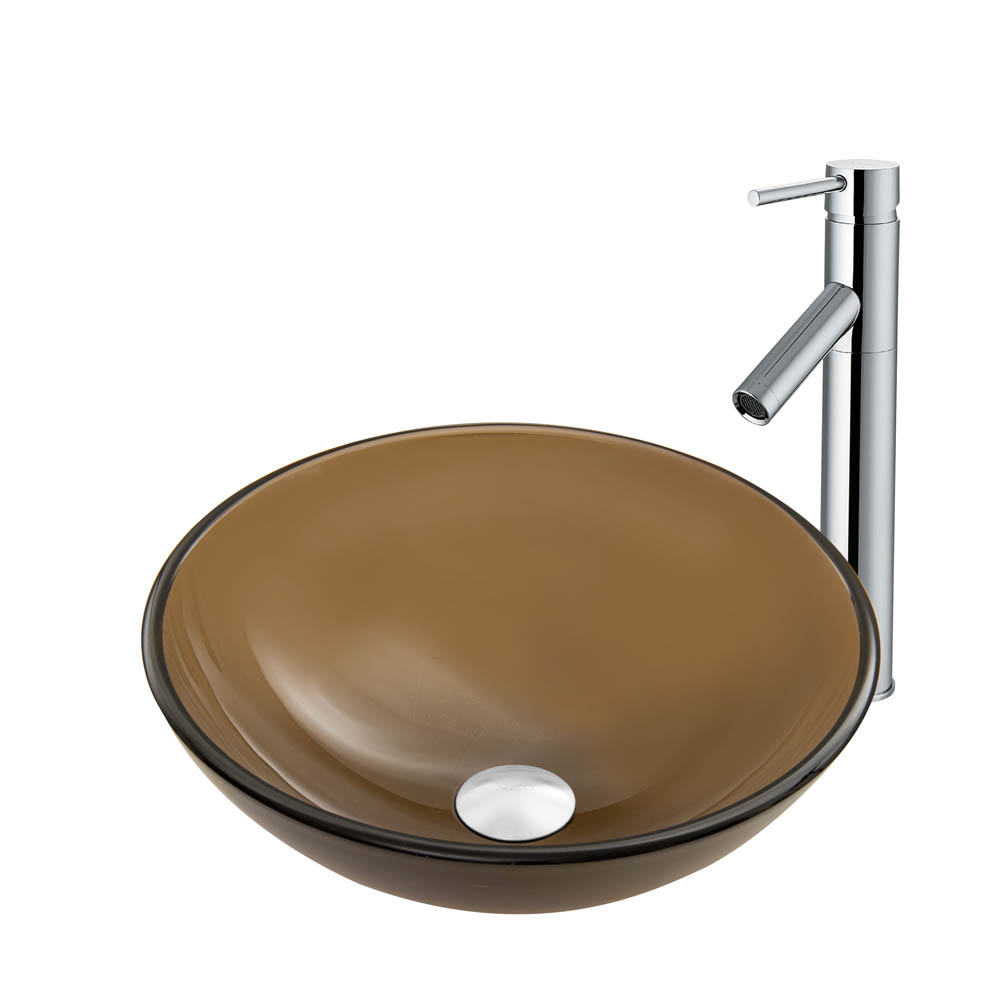 Vigo Sheer Sepia Frost Glass Vessel Sink and Dior Faucet Set in Chrome Finish VGT863 by Vigo Industries