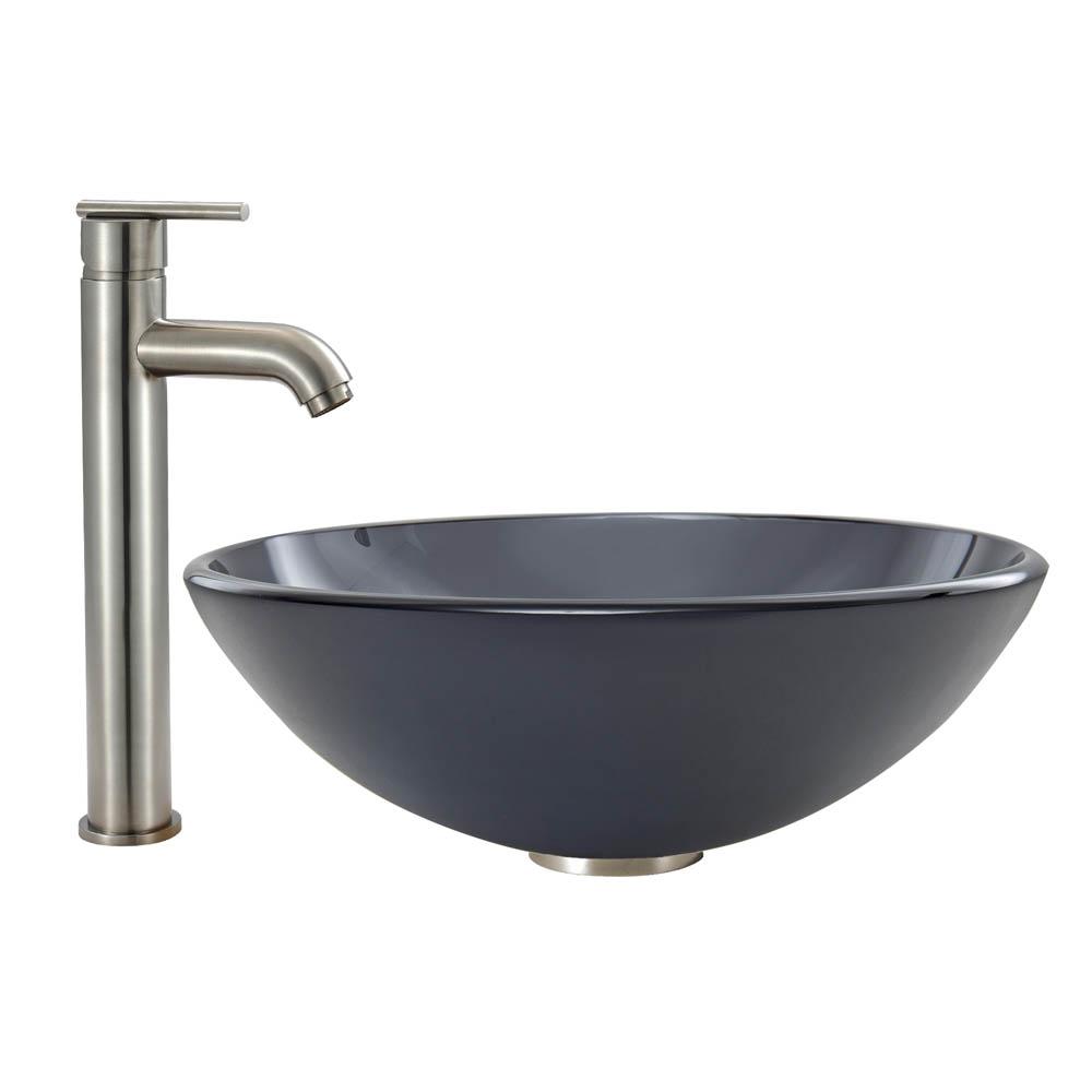 Vigo Sheer Black Frost Glass Vessel Sink And Seville