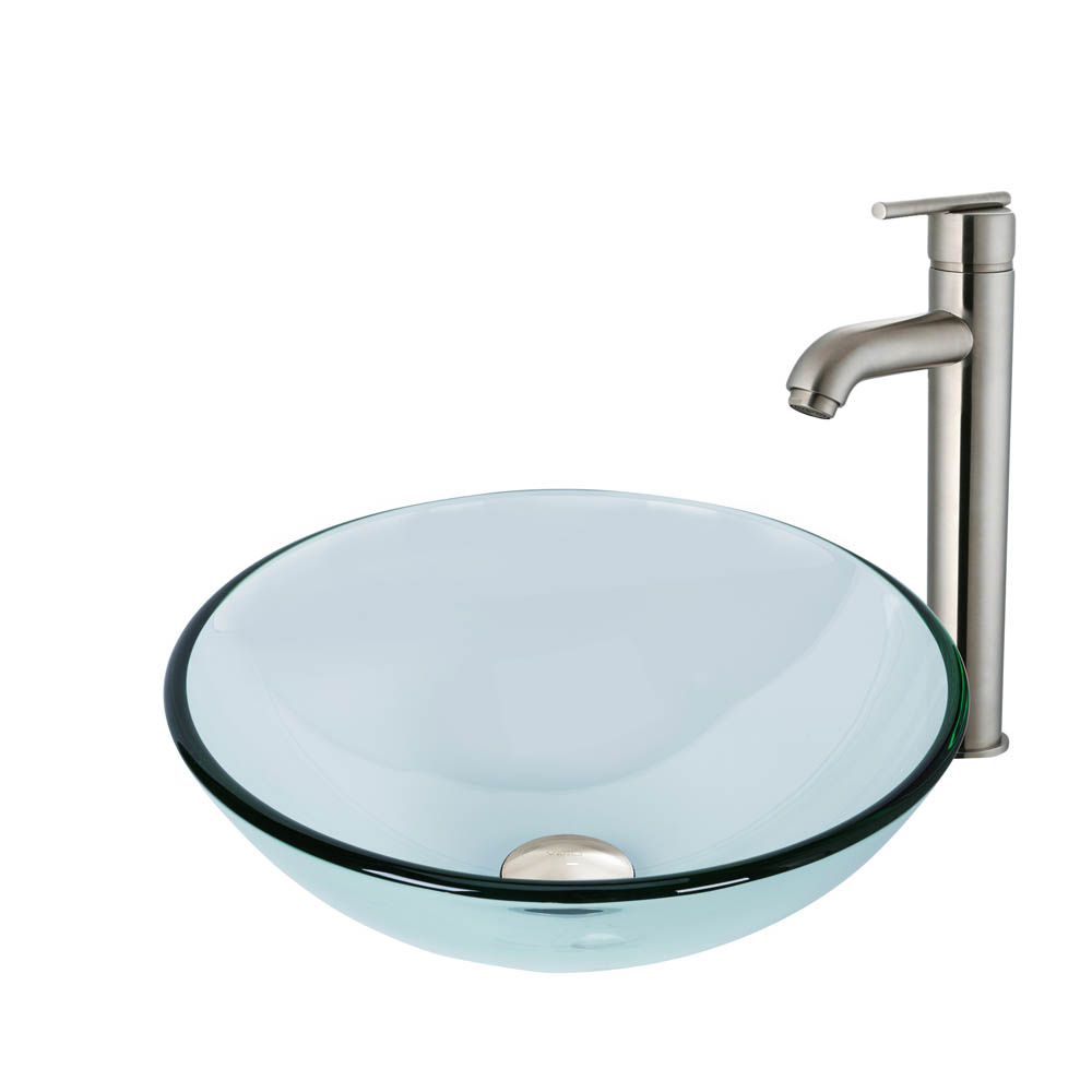 Vigo Crystalline Glass Vessel Sink and Seville Vessel Faucet Set in a Brushed Nickel Finish VGT893 by Vigo Industries