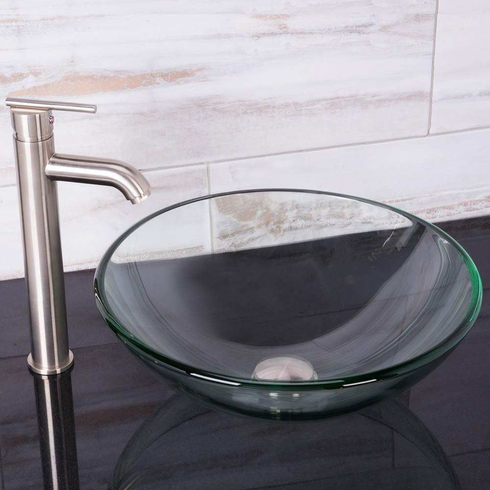 VIGO Crystalline Glass Vessel Sink and Seville Vessel Faucet Set in ...