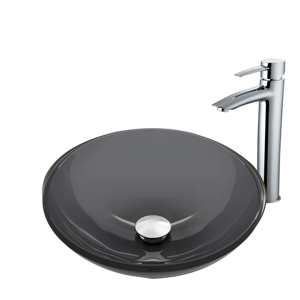 Vigo Sheer Black Glass Vessel Sink and Shadow Faucet Set in a Chrome Finish VGT908 by Vigo Industries