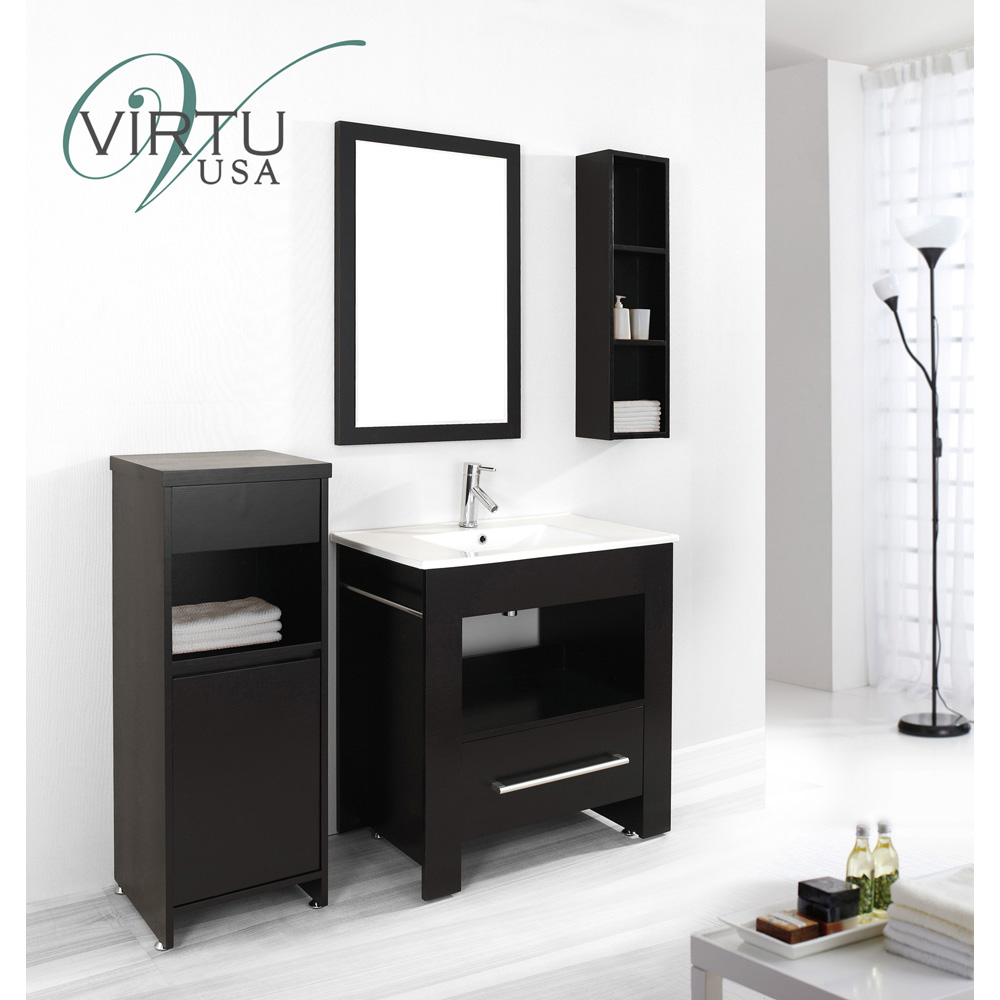 virtu usa masselin 32 single sink bathroom vanity set espresso free shipping modern bathroom. Black Bedroom Furniture Sets. Home Design Ideas