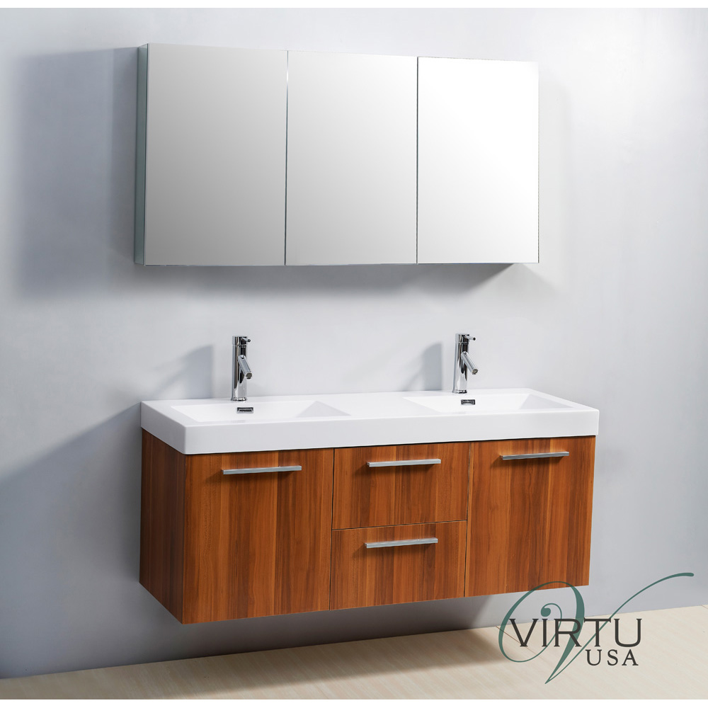 Virtu usa 54 midori double sink bathroom vanity with polymarble countertop plum free for Double sink countertop bathroom