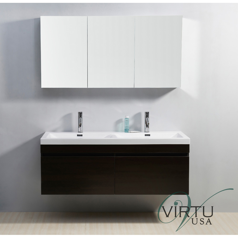 Virtu usa 55 zuri double sink bathroom vanity with polymarble countertop wenge free for 55 inch double sink bathroom vanity