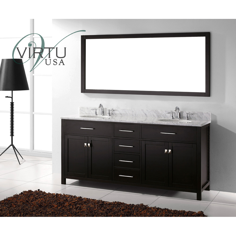 Stupendous Virtu Usa Caroline 72 Double Sink Bathroom Vanity Espresso Home Interior And Landscaping Eliaenasavecom