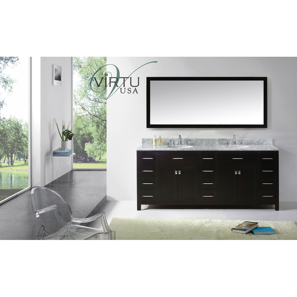 Virtu Usa 78 Caroline Parkway Double Bathroom Vanity Set With Italian Carrara White Marble