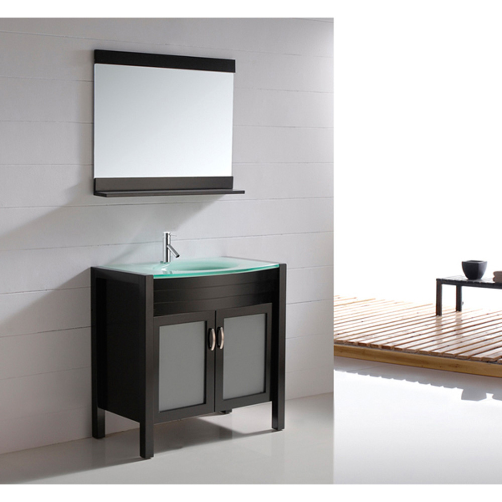 Virtu usa ava 36 single sink bathroom vanity espresso for Modern glass bathroom