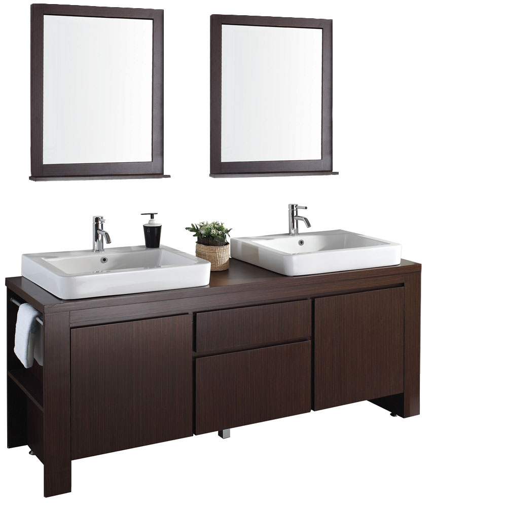 Allessa 72 Modern Bathroom Double Vanity Set Iron Wood Free Shipping Modern Bathroom