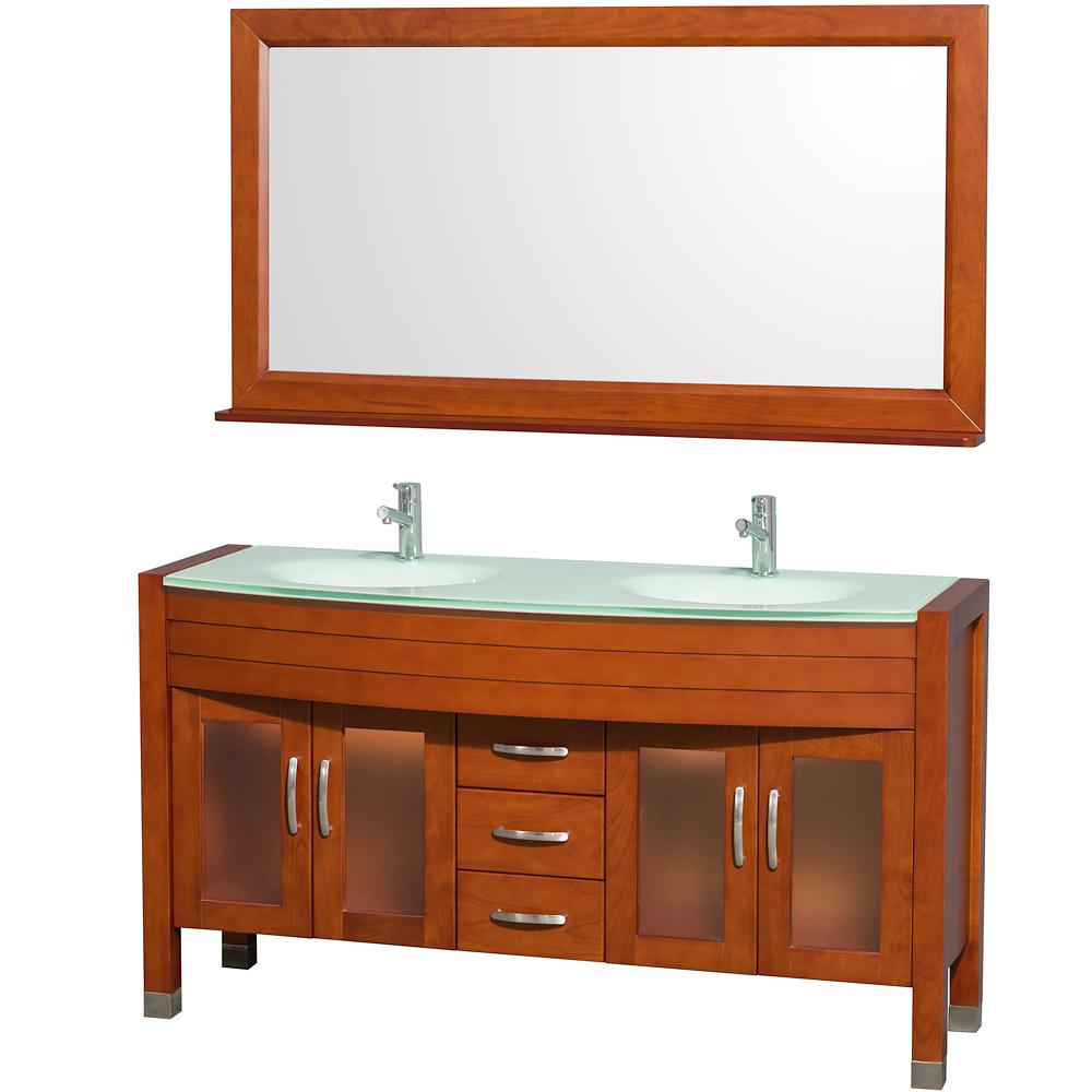 Cherry wood bathroom cabinets - Daytona 60 Double Bathroom Vanity With Mirror By Wyndham Collection Cherry Free Shipping Modern Bathroom