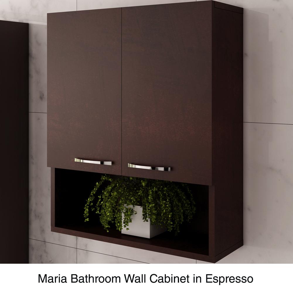 Maria bathroom wall cabinet by wyndham collection espresso free shipping modern bathroom for Wyndham bathroom wall cabinet