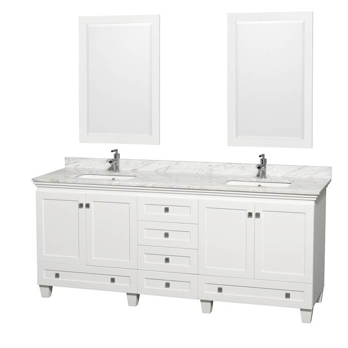 Acclaim 80 in. Double Bathroom Vanity - White WC-CG8000-80-DBL-VAN-WHT-