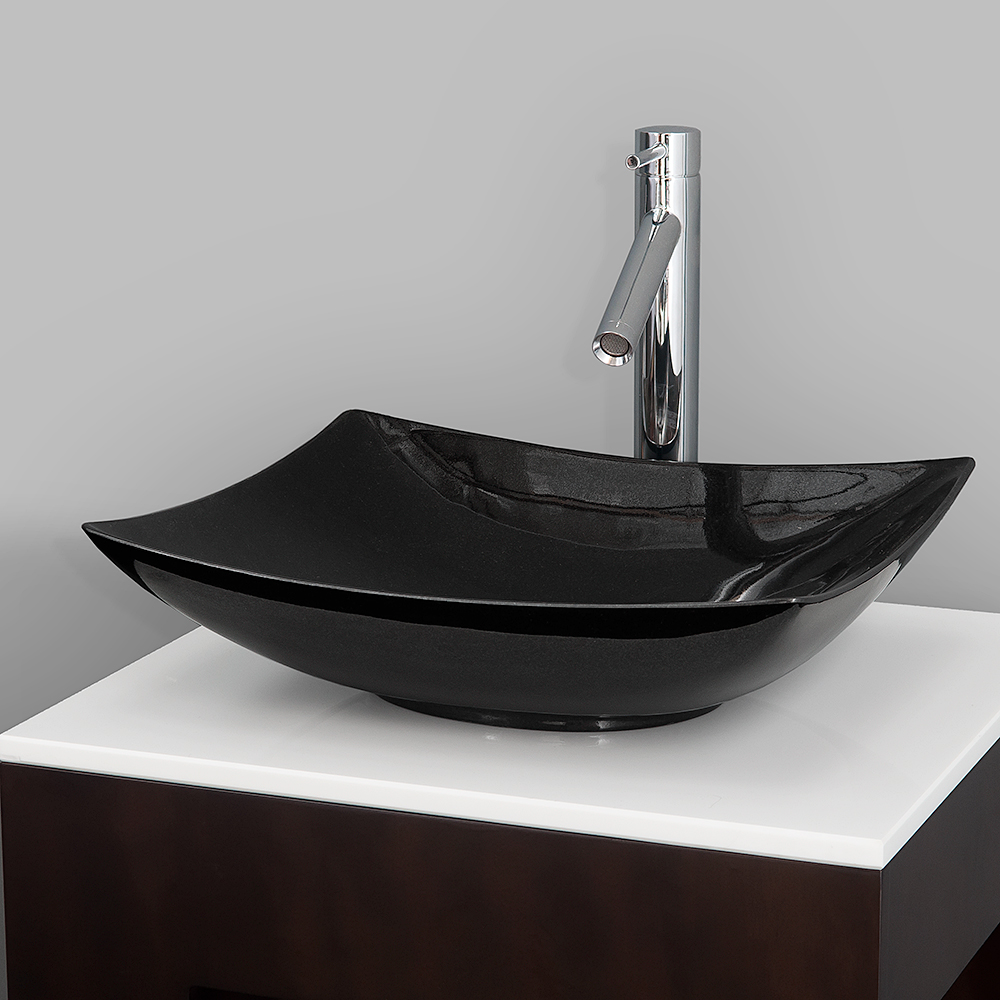 Arista vessel sink by wyndham collection black granite Black vessel bathroom sink