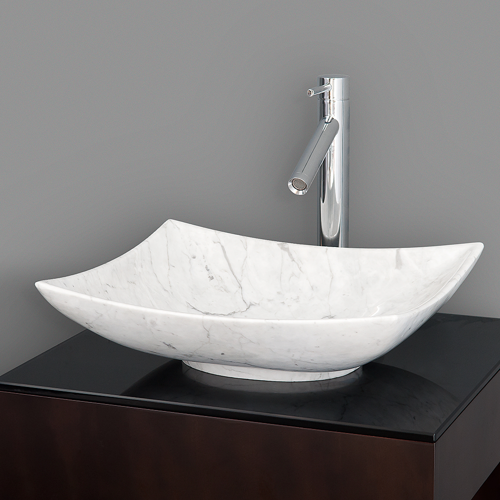 Replace Bathroom Sink >> Arista Vessel Sink by Wyndham Collection - White Carrara Marble | Free Shipping - Modern Bathroom
