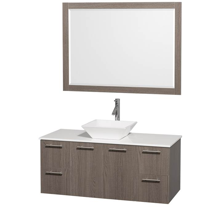 "Amare 48"" Wall-Mounted Bathroom Vanity Set with Vessel Sink by Wyndham Collection - Gray Oak WC-R4100-48-GRO-"