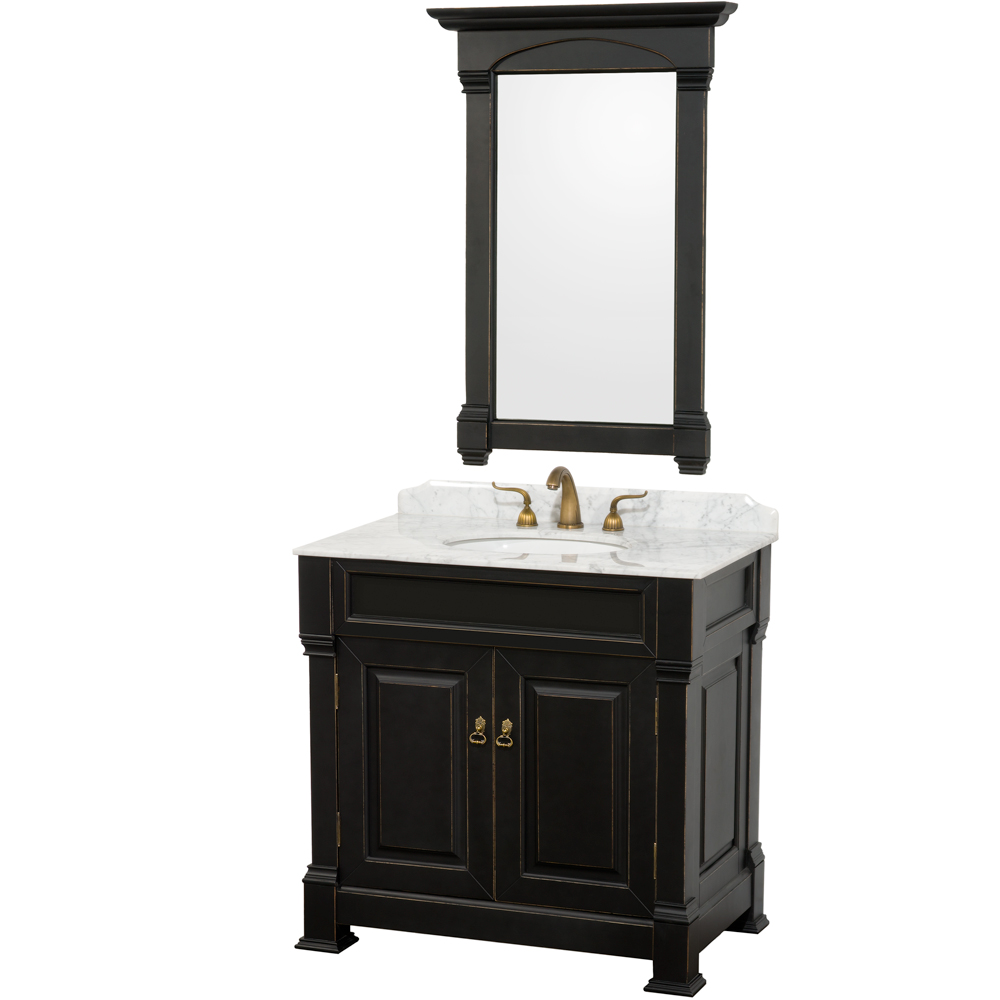 Andover 36 traditional bathroom vanity set by wyndham for Modern black bathroom vanity