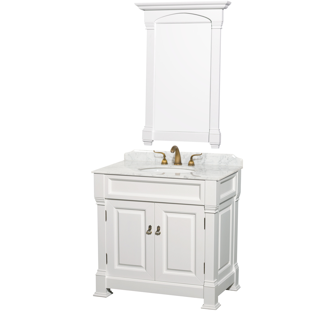 """Andover 36"""" Traditional Bathroom Vanity Set by Wyndham Collection, White WC-TS36-WHT by Wyndham Collection®"""