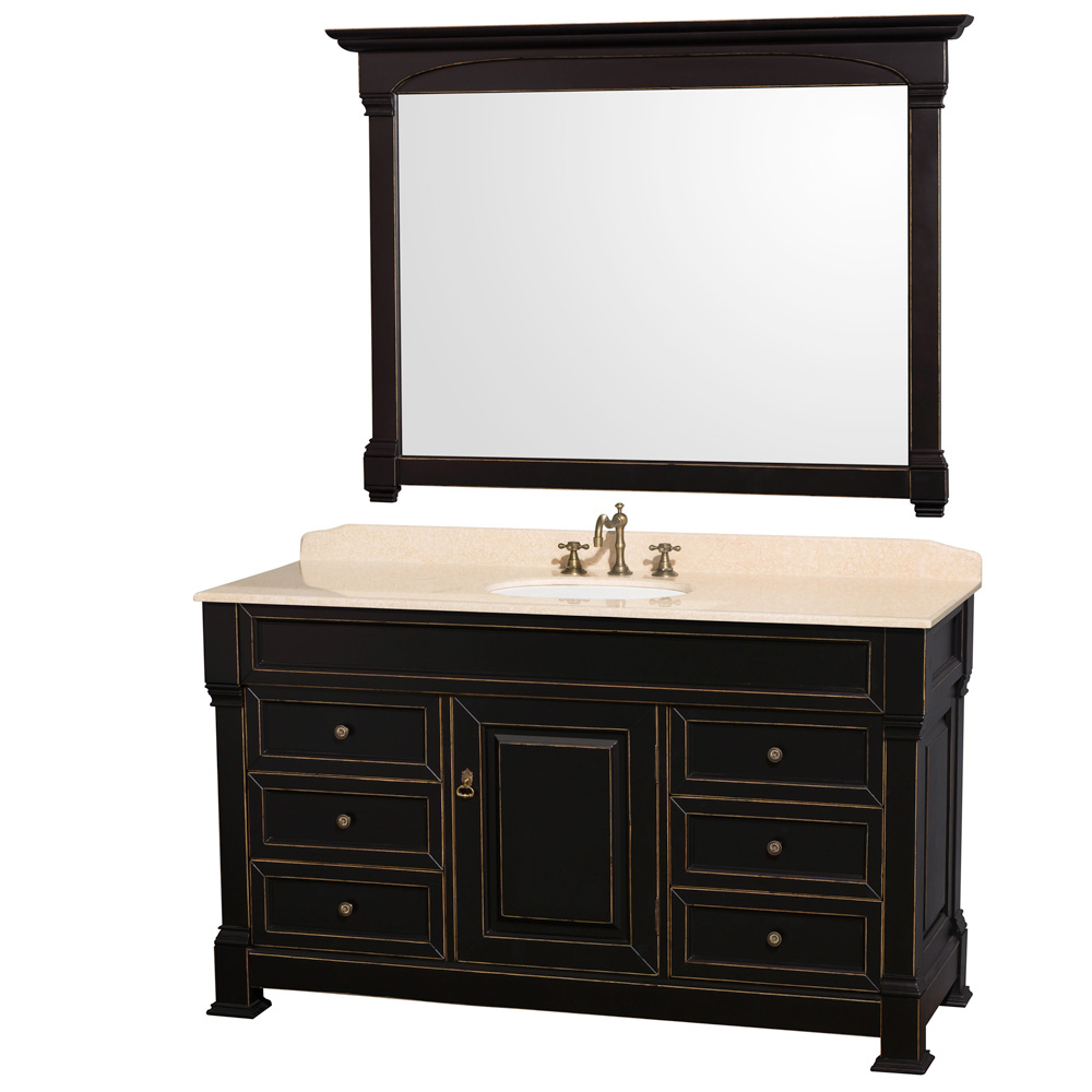 """Andover 60"""" Traditional Bathroom Vanity Set by Wyndham Collection, Black WC-TS60-BLK by Wyndham Collection®"""