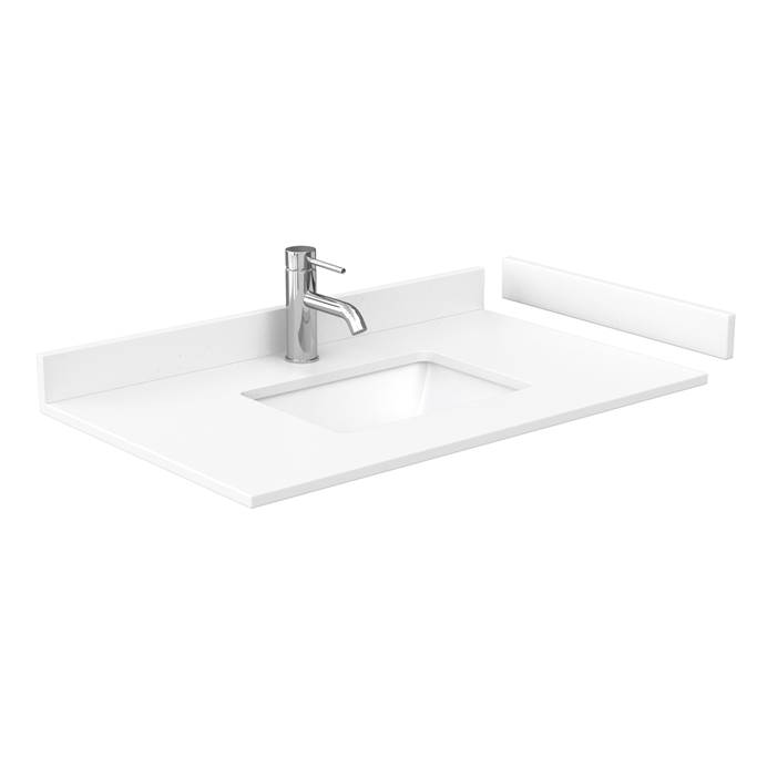 "36"" Single Countertop - White Cultured Marble with Undermount Square Sink - Include Backsplash and Sidesplash WC-VCA-36-SGL-TOP-UMSQ-WHC"