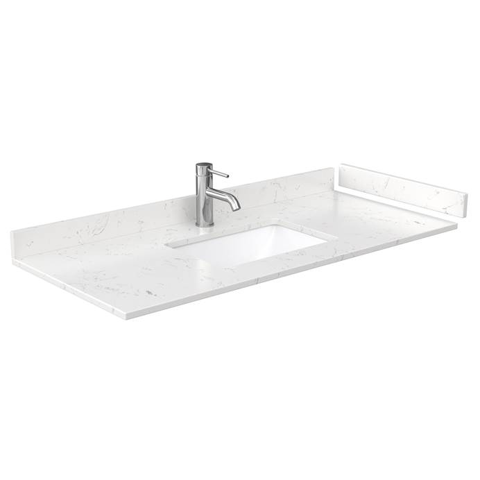 "48"" Single Countertop - Light-Vein Carrara Cultured Marble with Undermount Square Sink - Include Backsplash and Sidesplash WC-VCA-48-SGL-TOP-UMSQ-CC2"