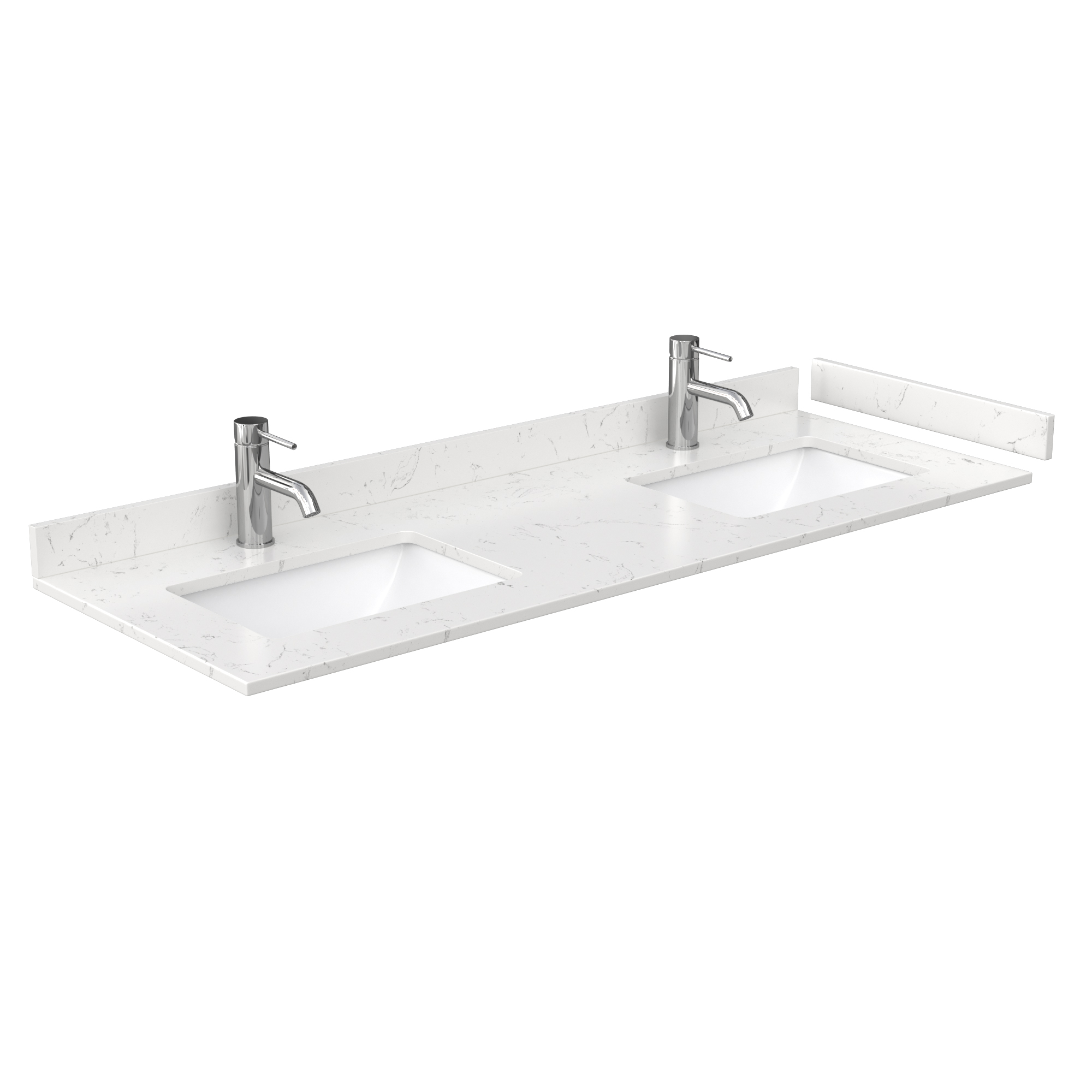 60 Double Countertop Light Vein Carrara Cultured Marble With Undermount Square Sinks Includes Backsplash And Sidesplash Free Shipping Modern Bathroom