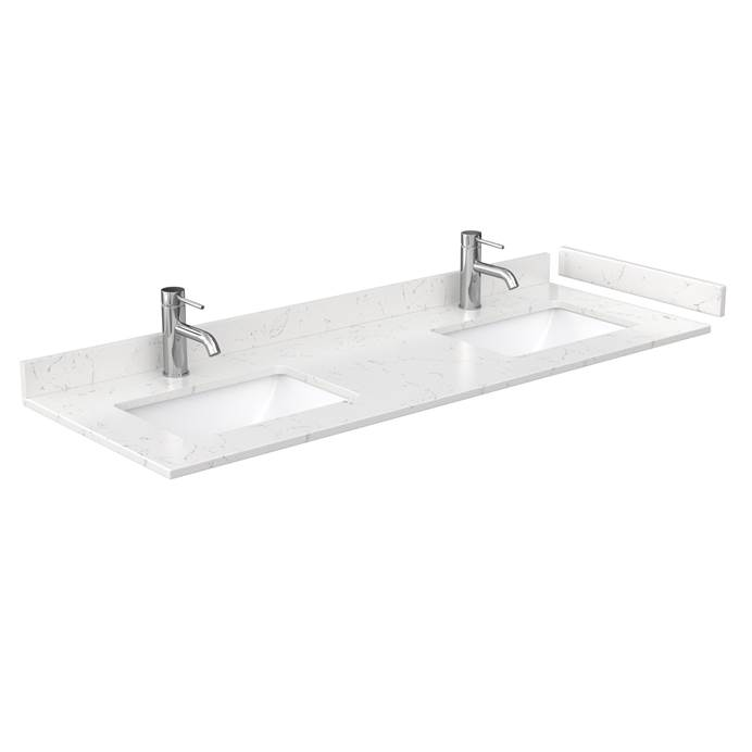 "60"" Double Countertop - Light-Vein Carrara Cultured Marble with Undermount Square Sinks - Include Backsplash and Sidesplash WC-VCA-60-DBL-TOP-UMSQ-CC2"